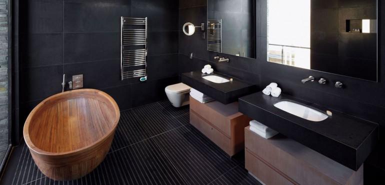 30 черных интерьеров для ванной комнаты