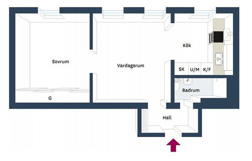 Скандинавская квартира в 58 кв. м-15