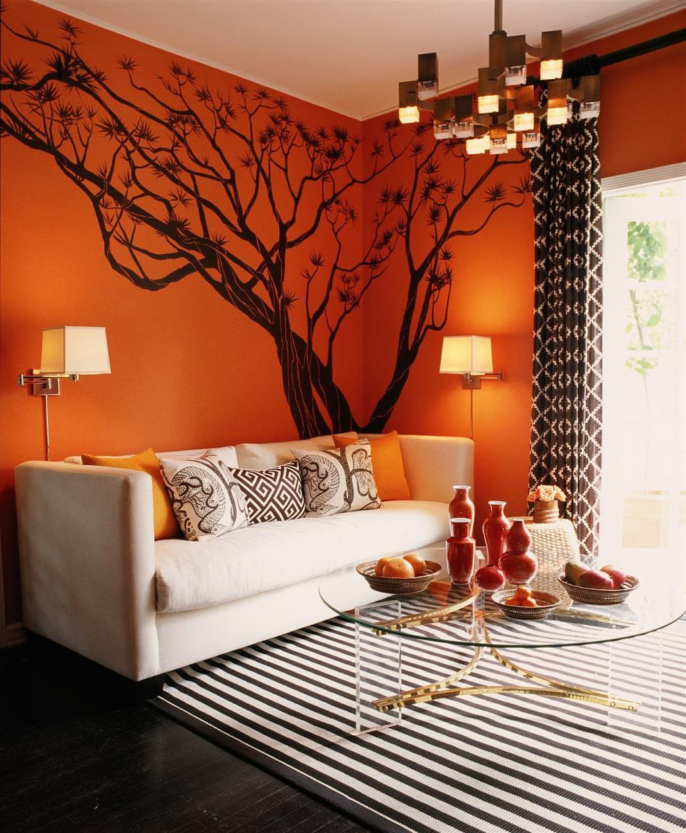 Комната в оранжевых тонах фото