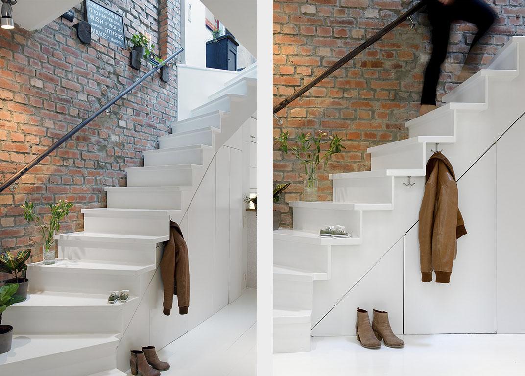 белая лестница на второй этаж
