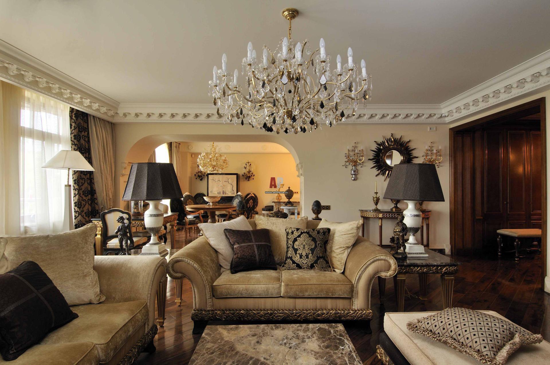 Классические люстры для гостиной в интерьере фото