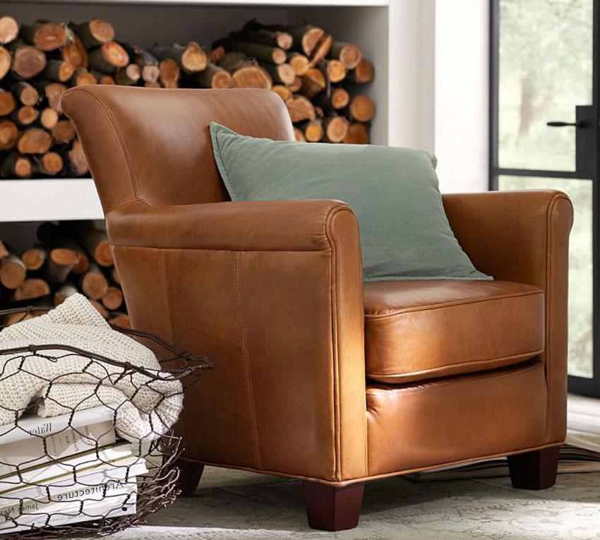 кожаное классическое кресло фото