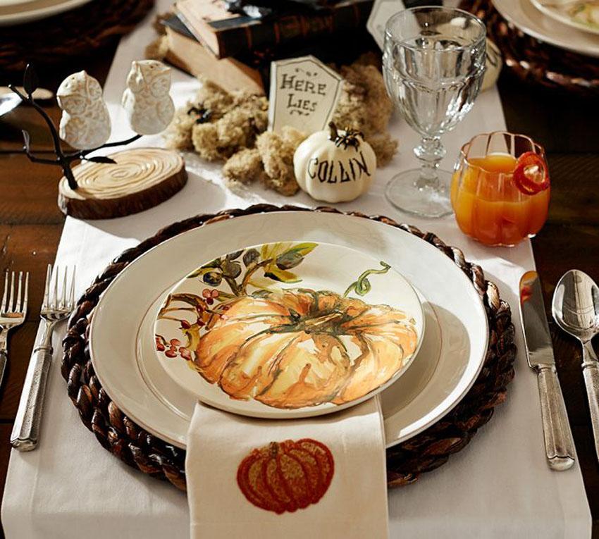 тарелки с рисунком тыквы