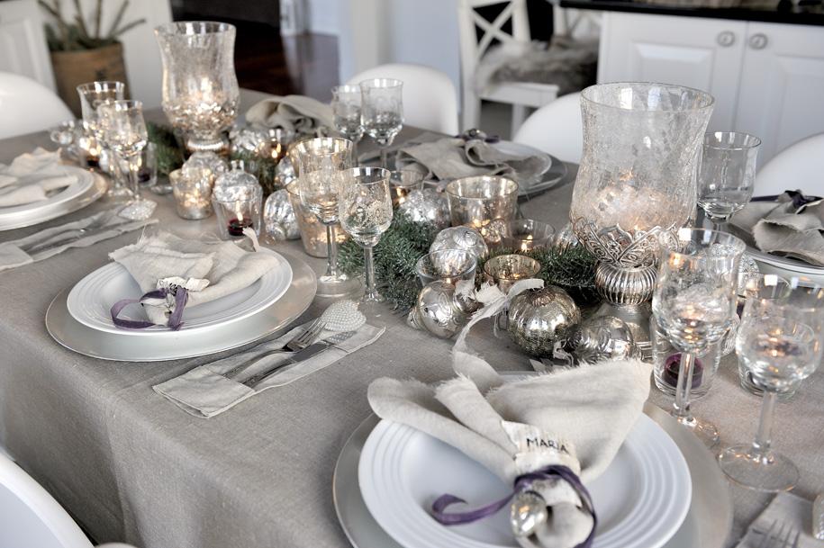 новогодние украшение стола