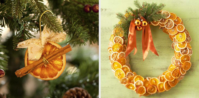 новогодний декор из цитрусовых