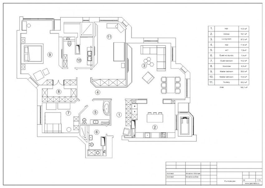 планировка 4-х комнатной квартиры