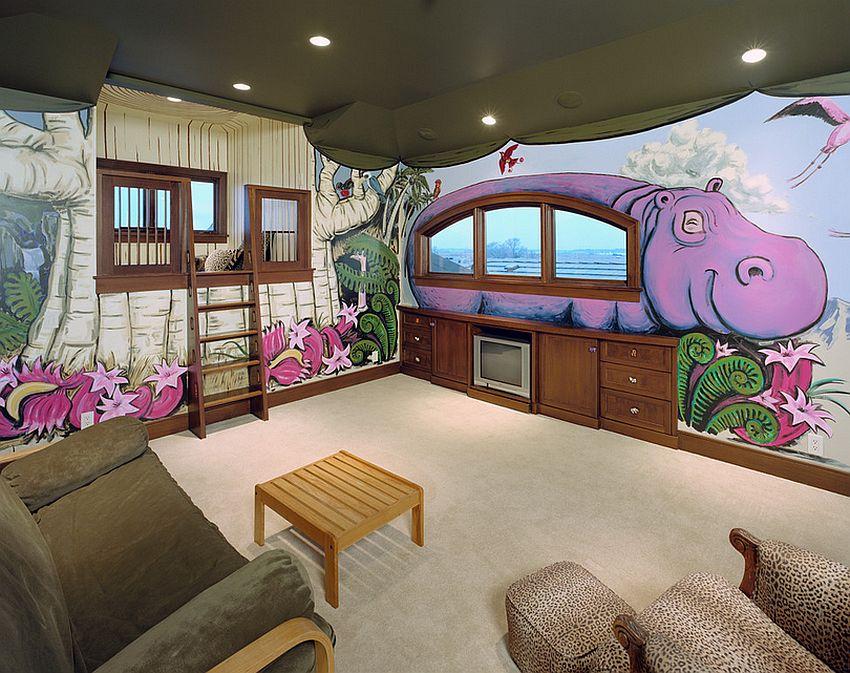 дизайн потолка детской комнаты фото