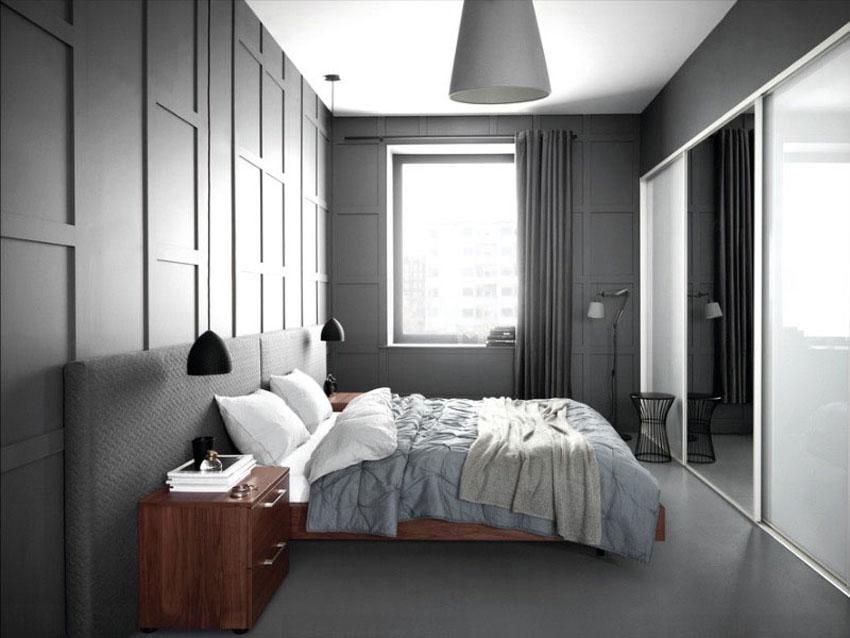серая спальня фото