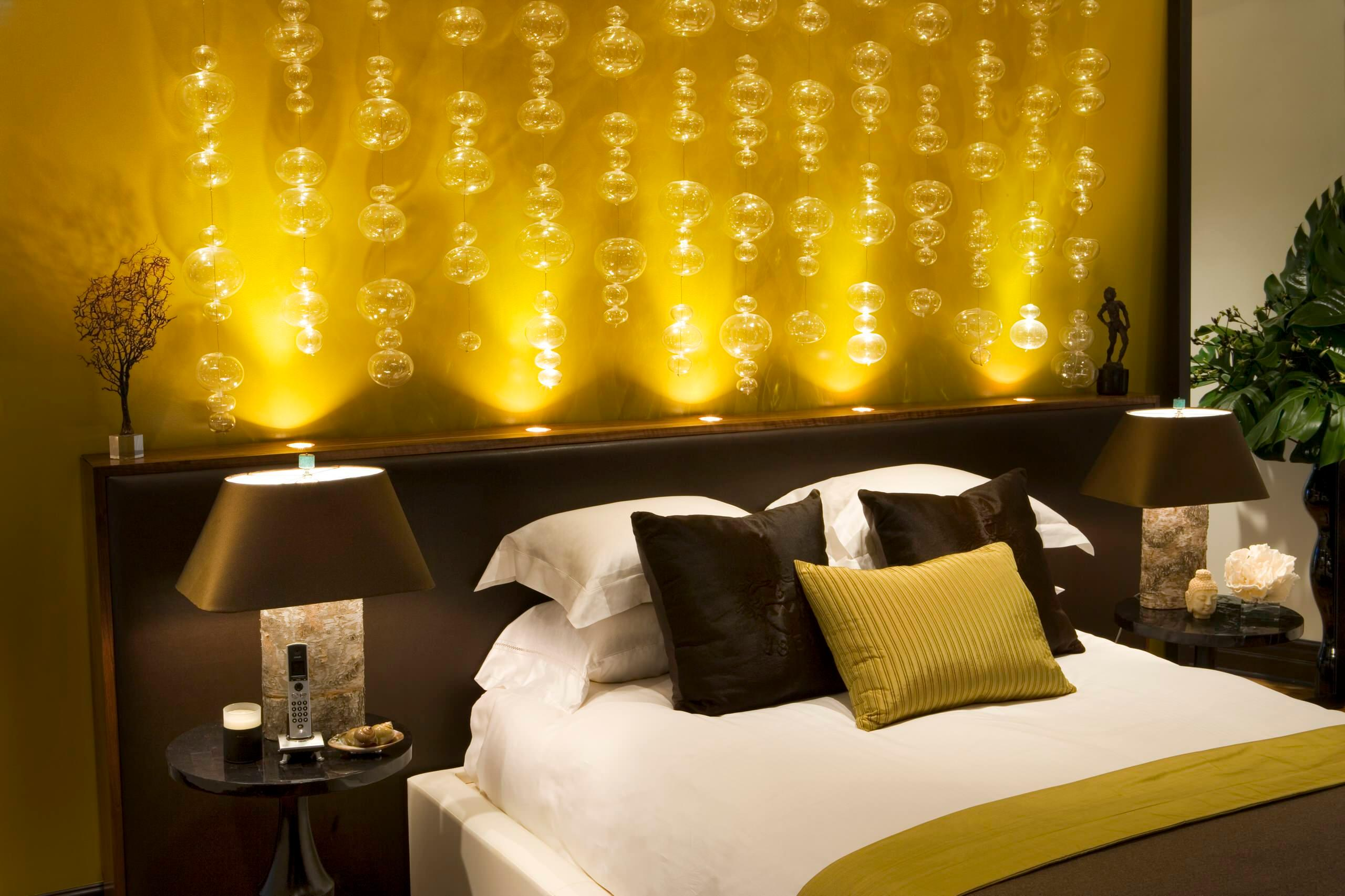 дизайн желтая спальня