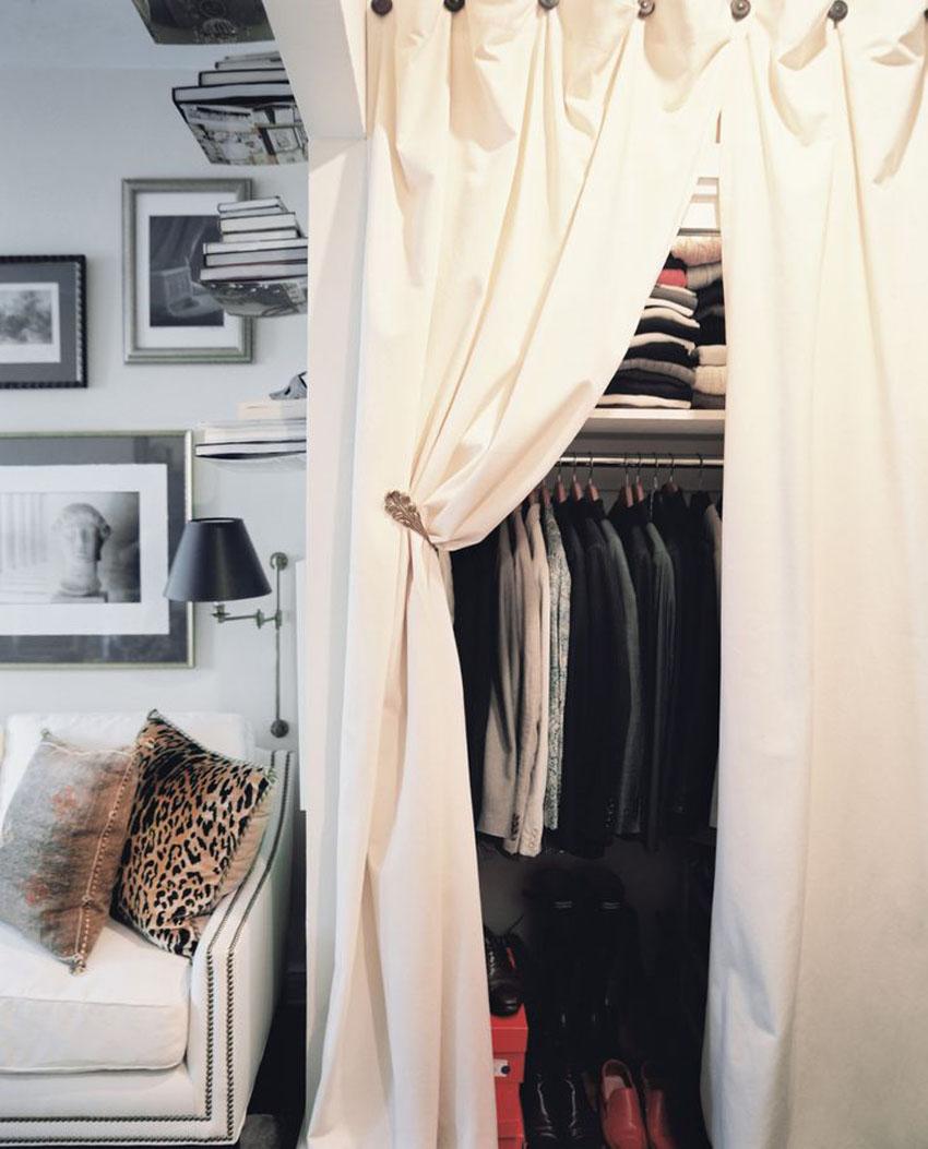 шторы вместо дверей в шкафу фото