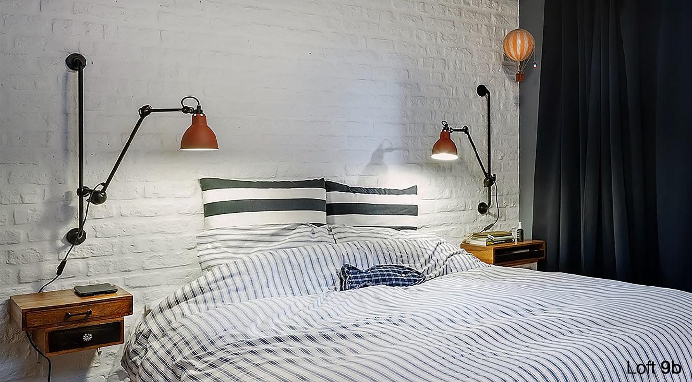 стиль лофт спальня