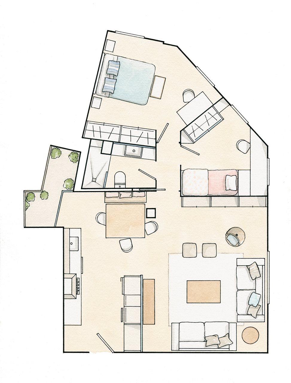 дизайн трехкомнатной квартиры 60м2