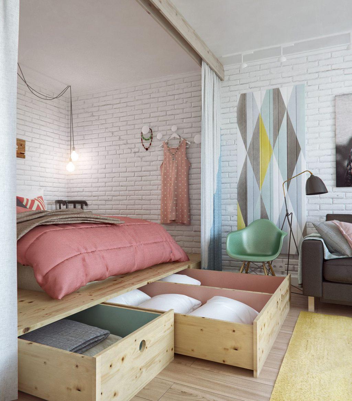 дизайн 1 комнатной квартиры 45м2