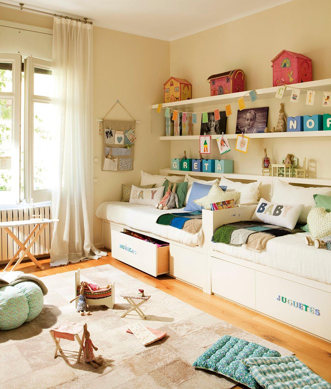 Фото дизайн детской комнаты для разнополых детей 7 квм