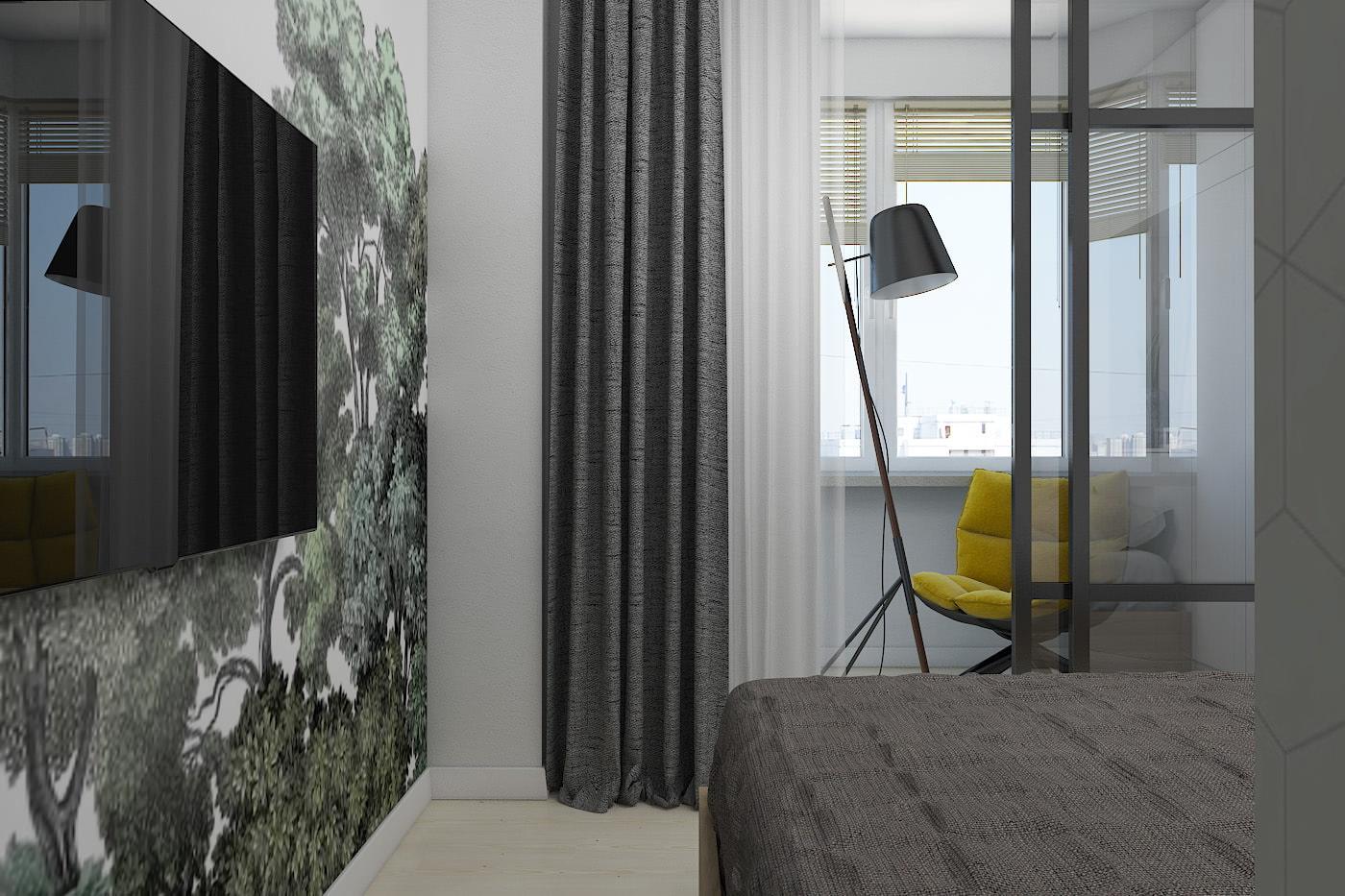 дизайн маленькой спальни с фотообоями