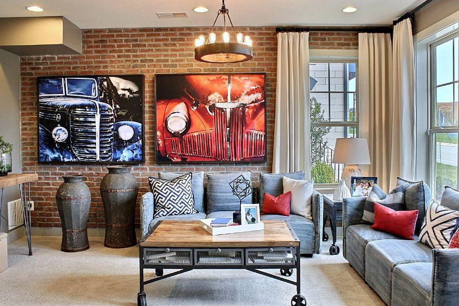 25 стильних віталень з цегляною стіною