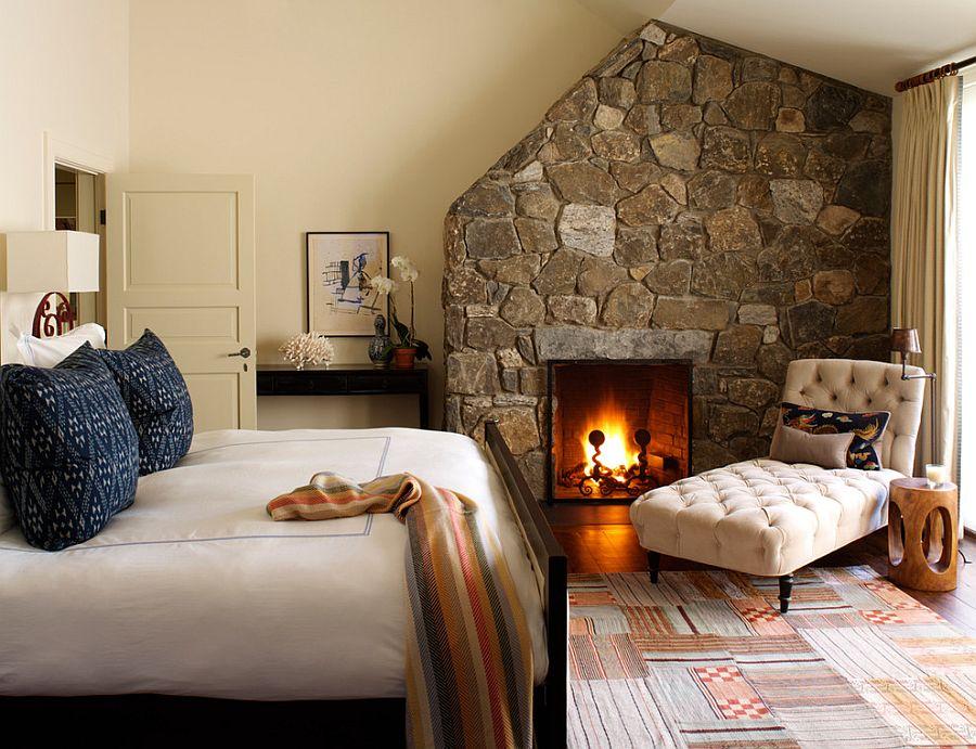 Интерьер спальни с электрокамином фото