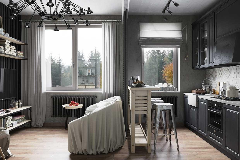 дизайн проект кухни совмещенной с гостинной