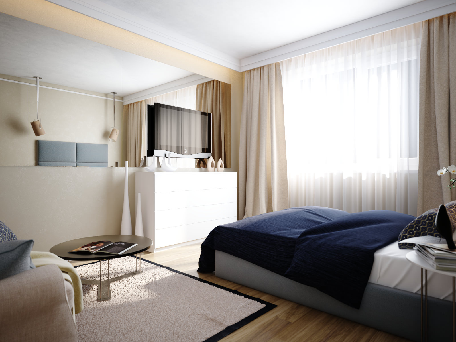 дизайн спальни-гостинной