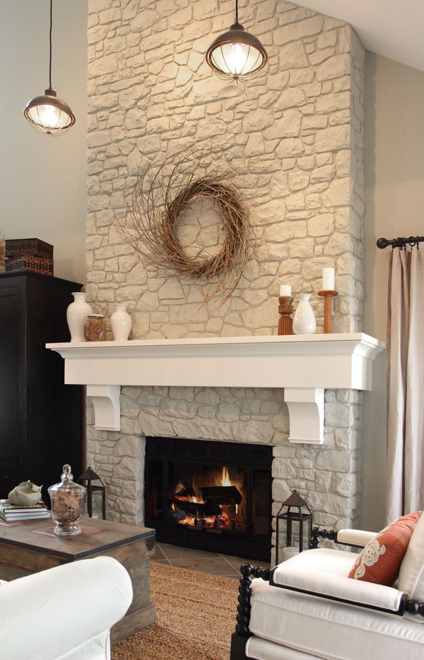 інтер єр вітальні з каміном фото