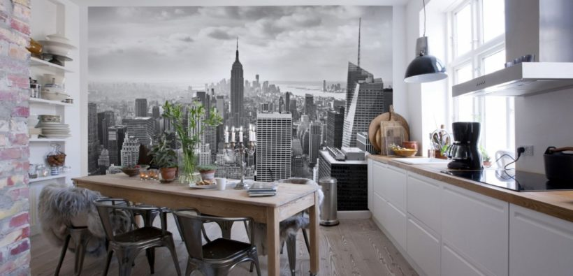 Обои для кухни: 25 фото-идей + советы по оформлению