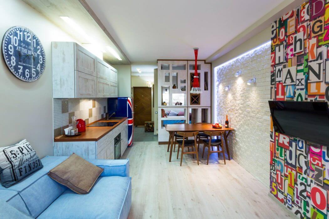 Красочный дизайн однокомнатной квартиры (30 кв. м) из Киева