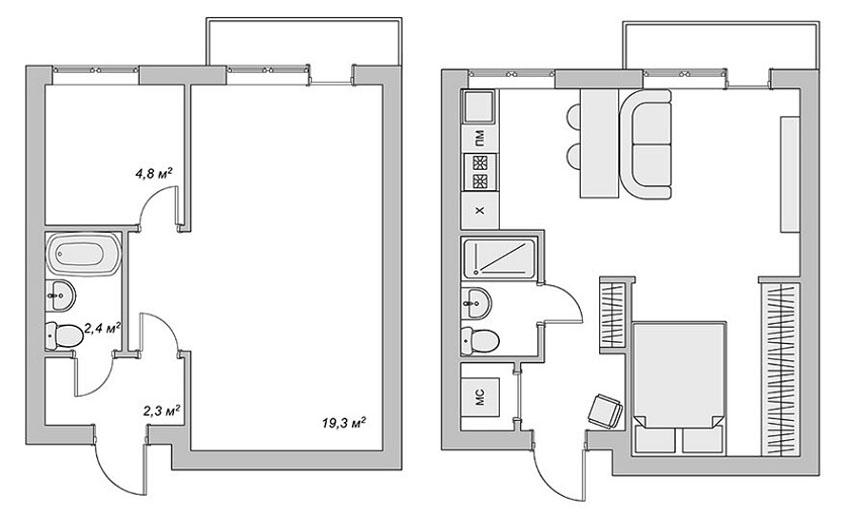 как обставить однокомнатную квартиру фото
