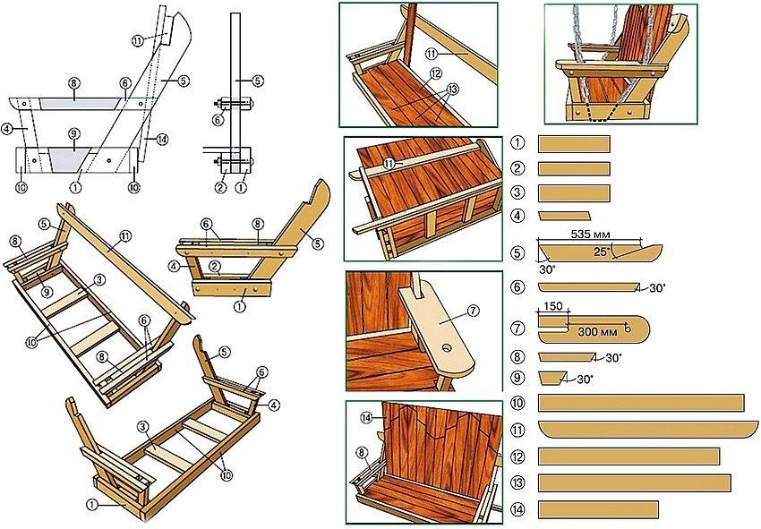 Как сделать детские качели из дерева чертежи и размеры