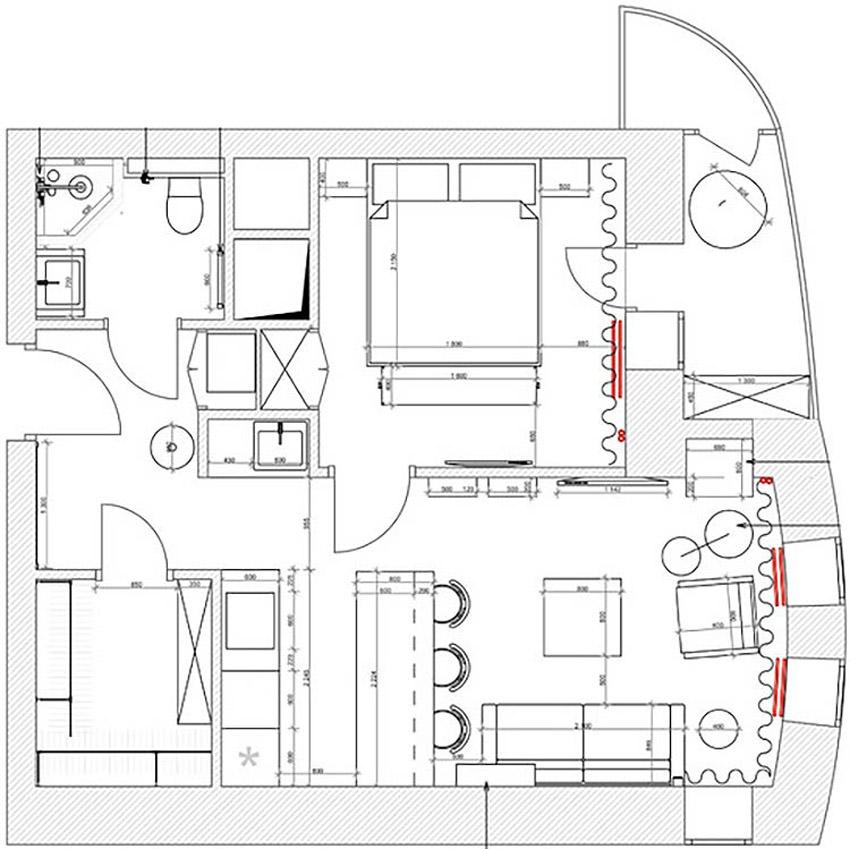 панировка двухкомнатной квартиры студии
