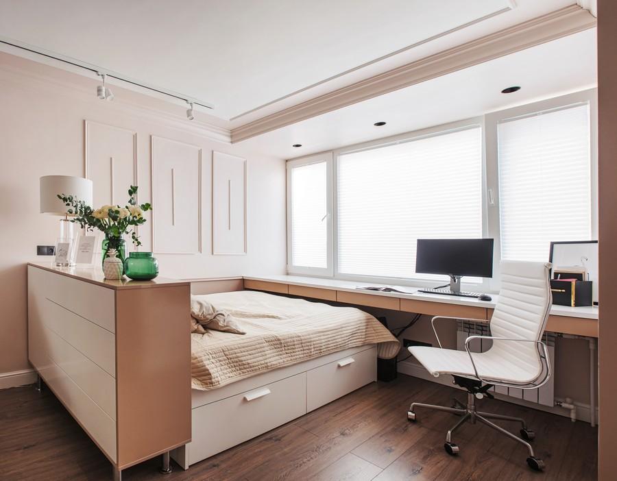 Дизайн спальни-гостиной: 18 готовых проектов
