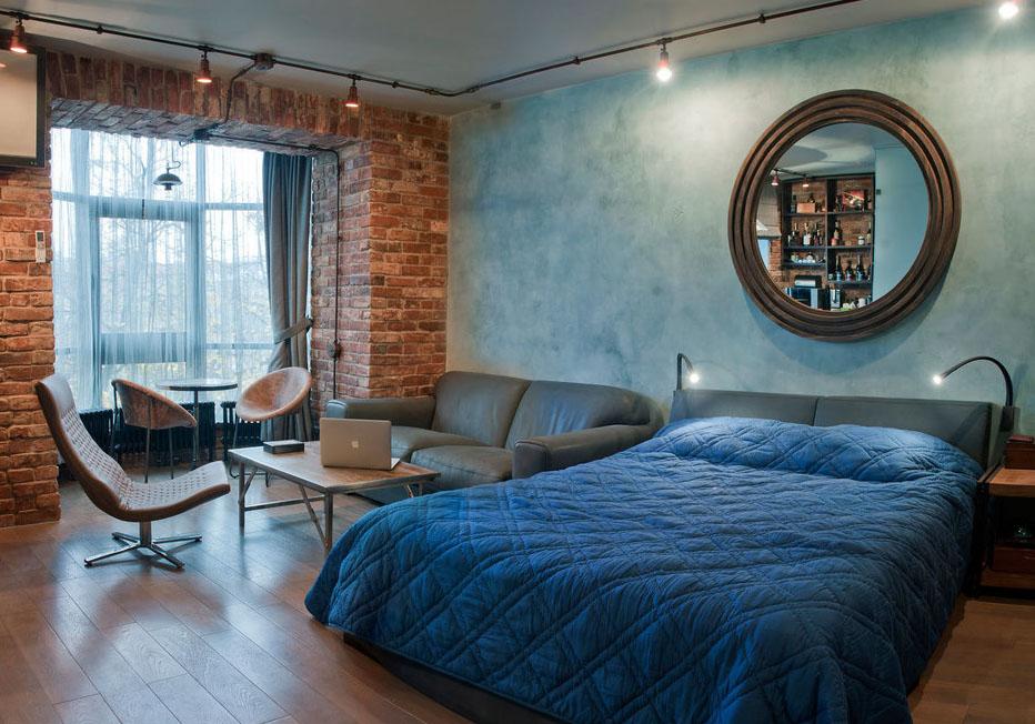 спальня и гостиная в одной комнате фото