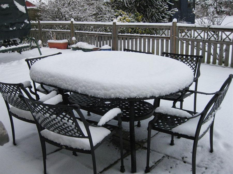 садовая мебель в снегу