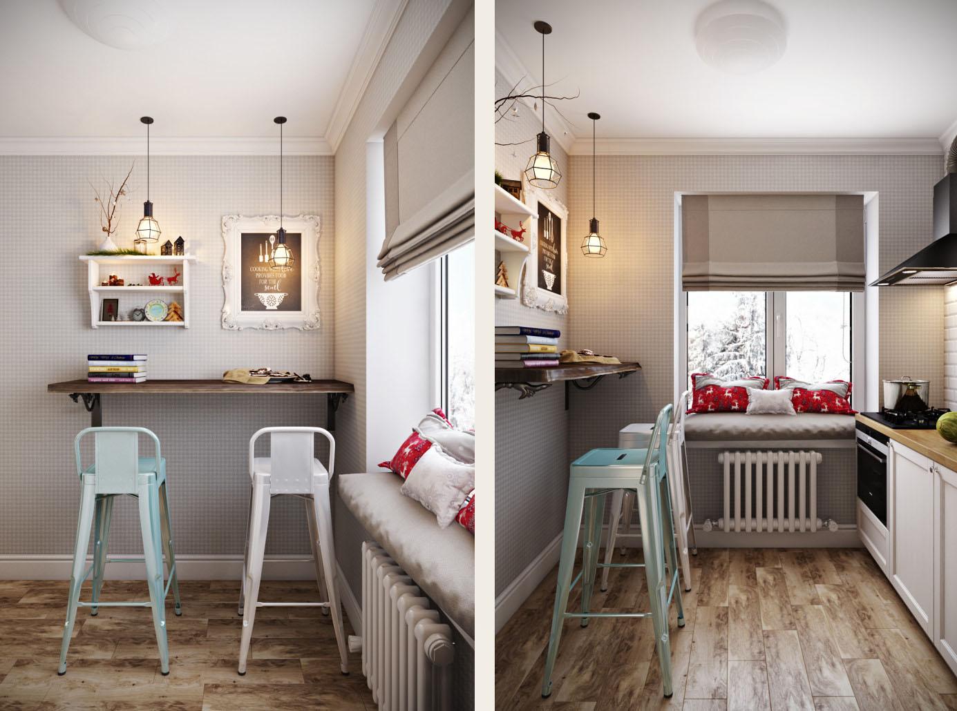 кухня с барными стульями