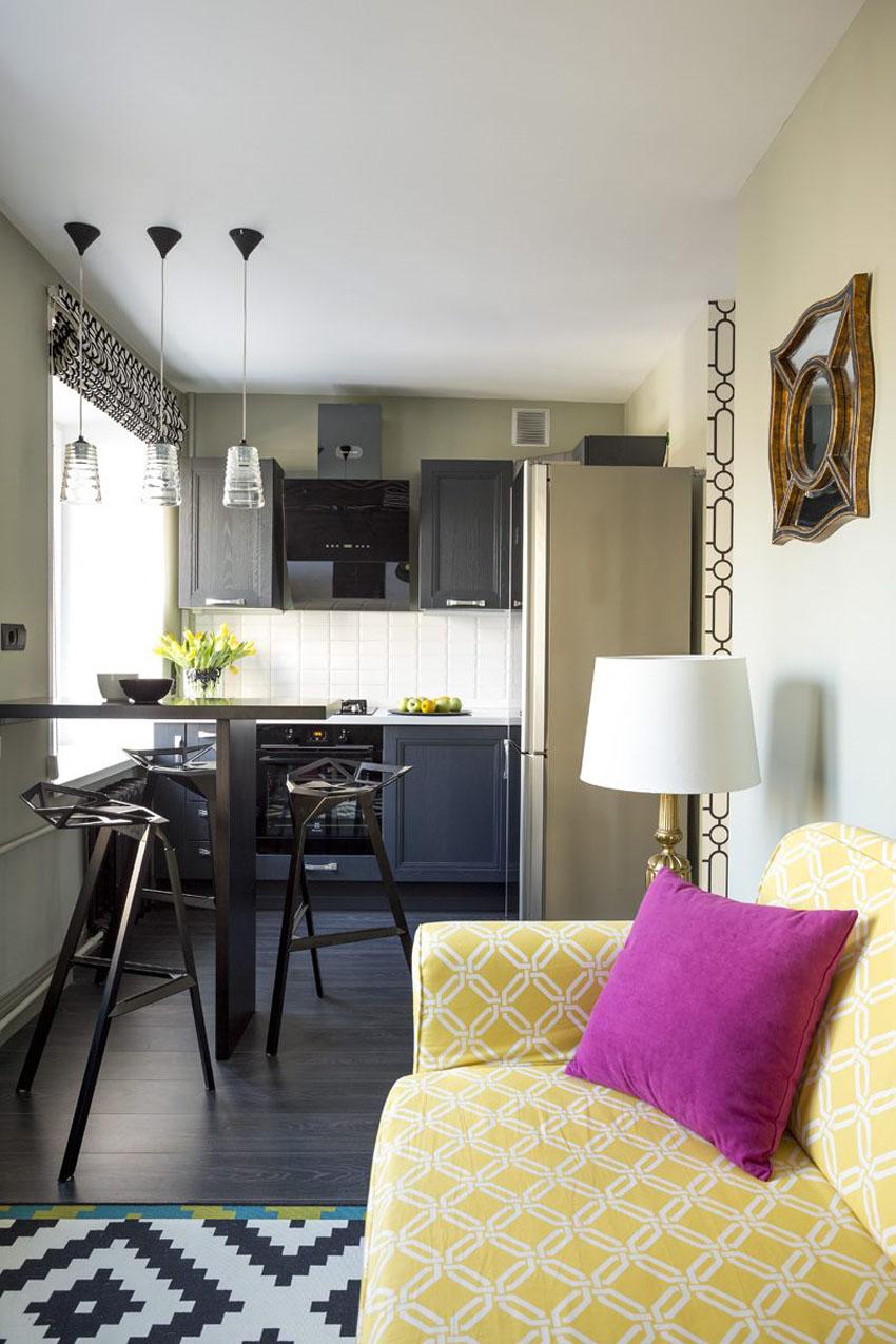 дизайн кухни с барной стойкой и гостинной