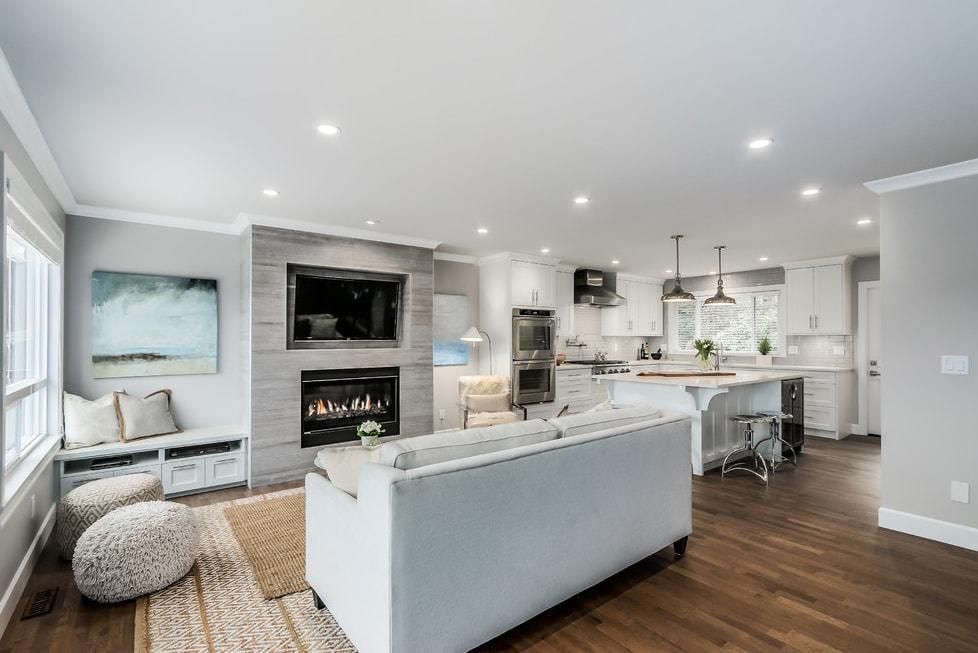 дизайн гостинной совмещенной с кухней в частном доме