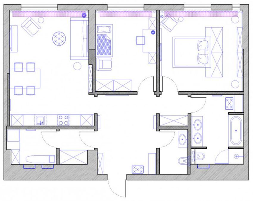 План схема 3 комнатной квартиры 106