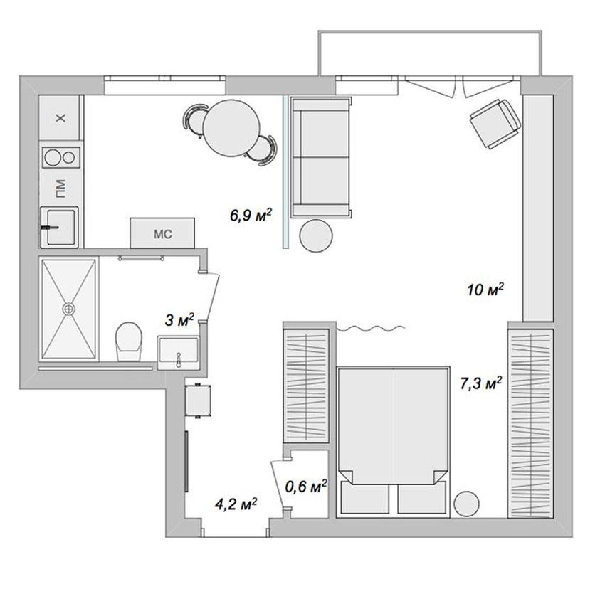 квартира 40 кв м планировка