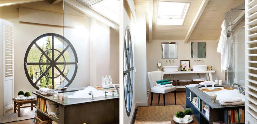 Дизайн ванной на мансарде в стиле прованс