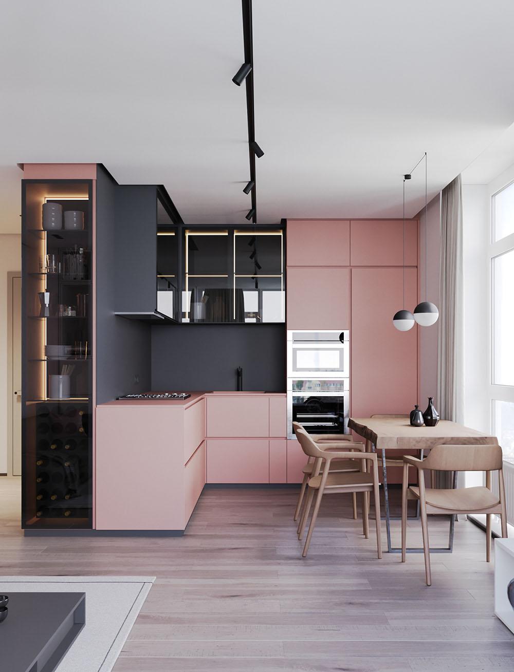 Модная двухкомнатная квартира-студия в розовом цвете
