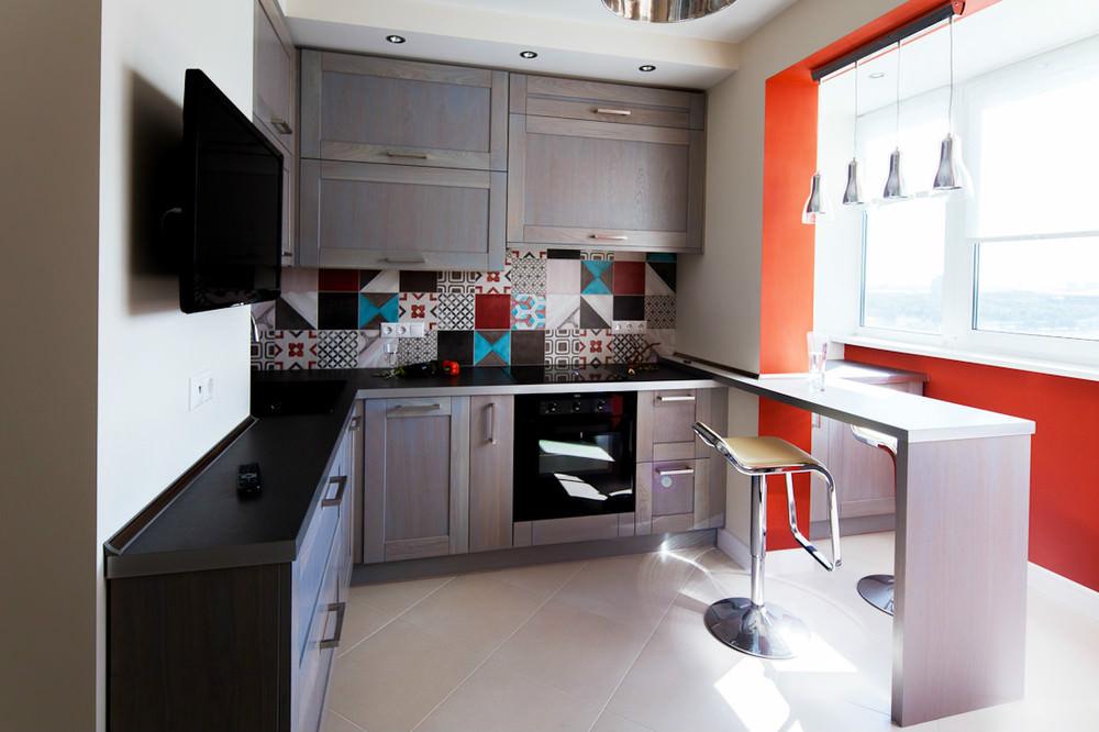 дизайн кухни 8 кв м с барной стойкой