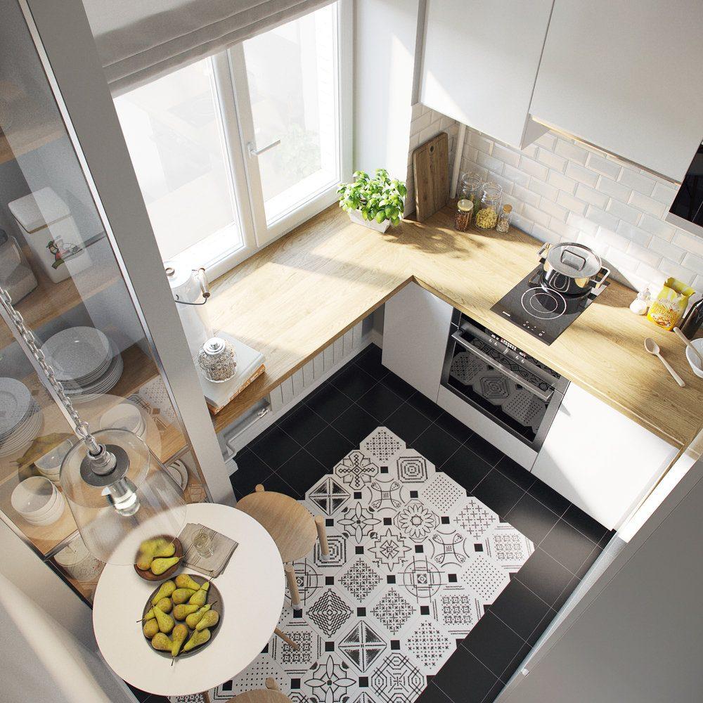 Дизайн кухни с использованием подоконника