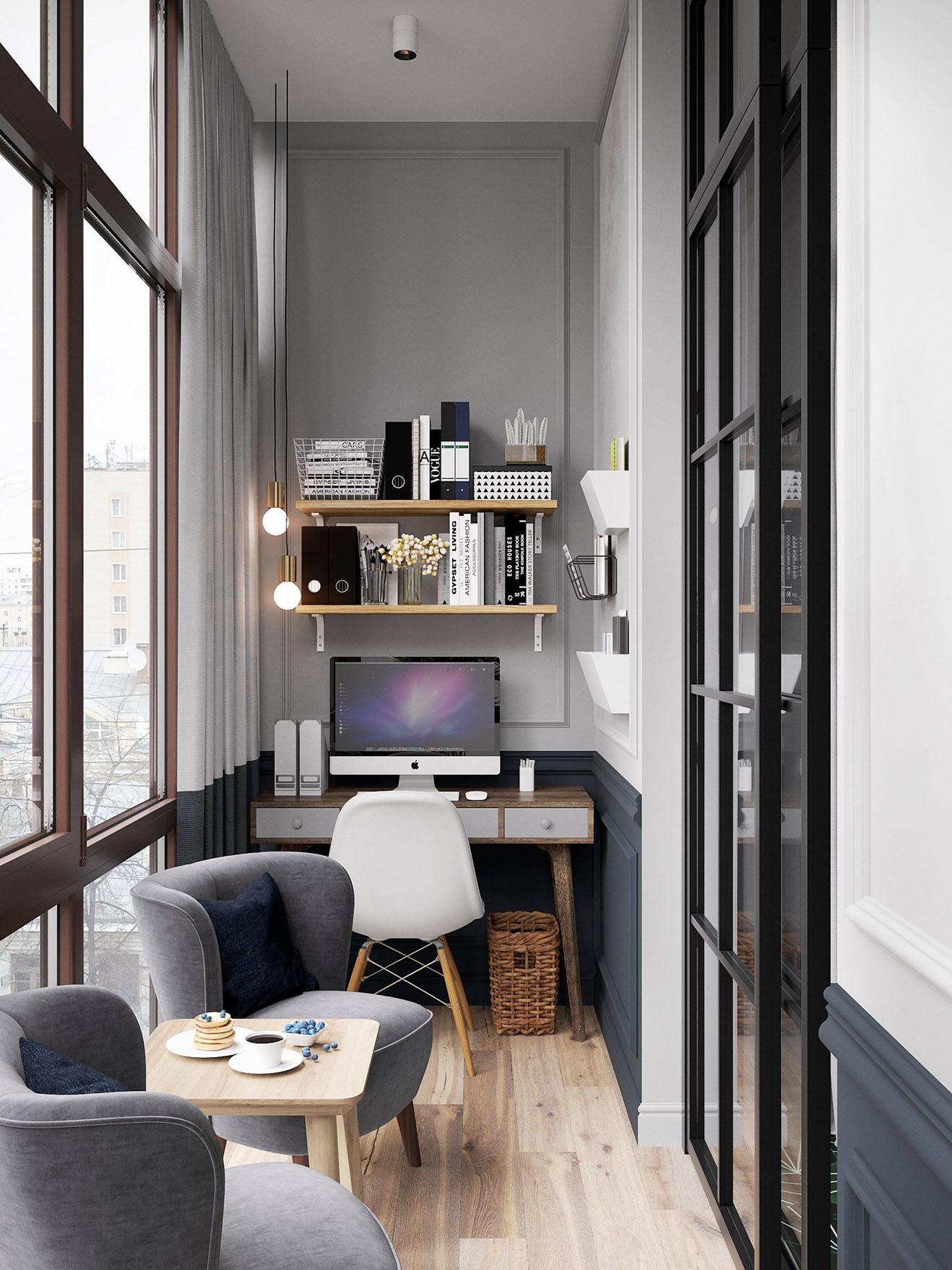 Дизайн маленького зала с балконом