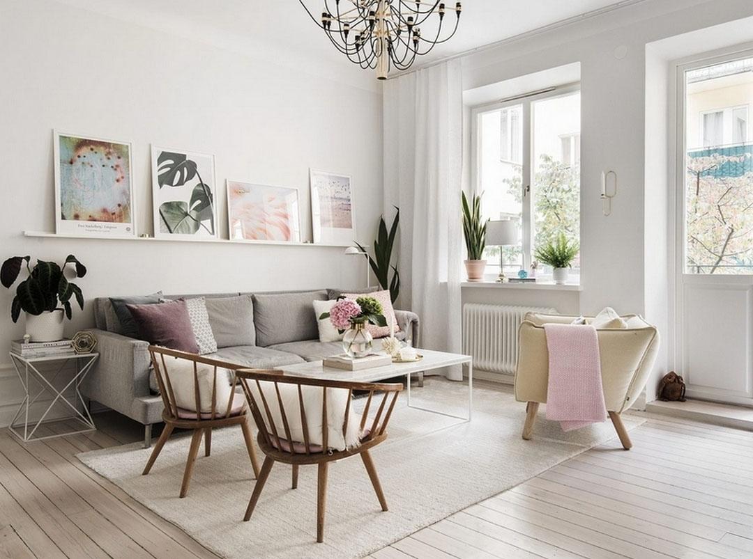 Дизайн 2-х комнатной квартиры: 57 кв. м с розовыми деталями