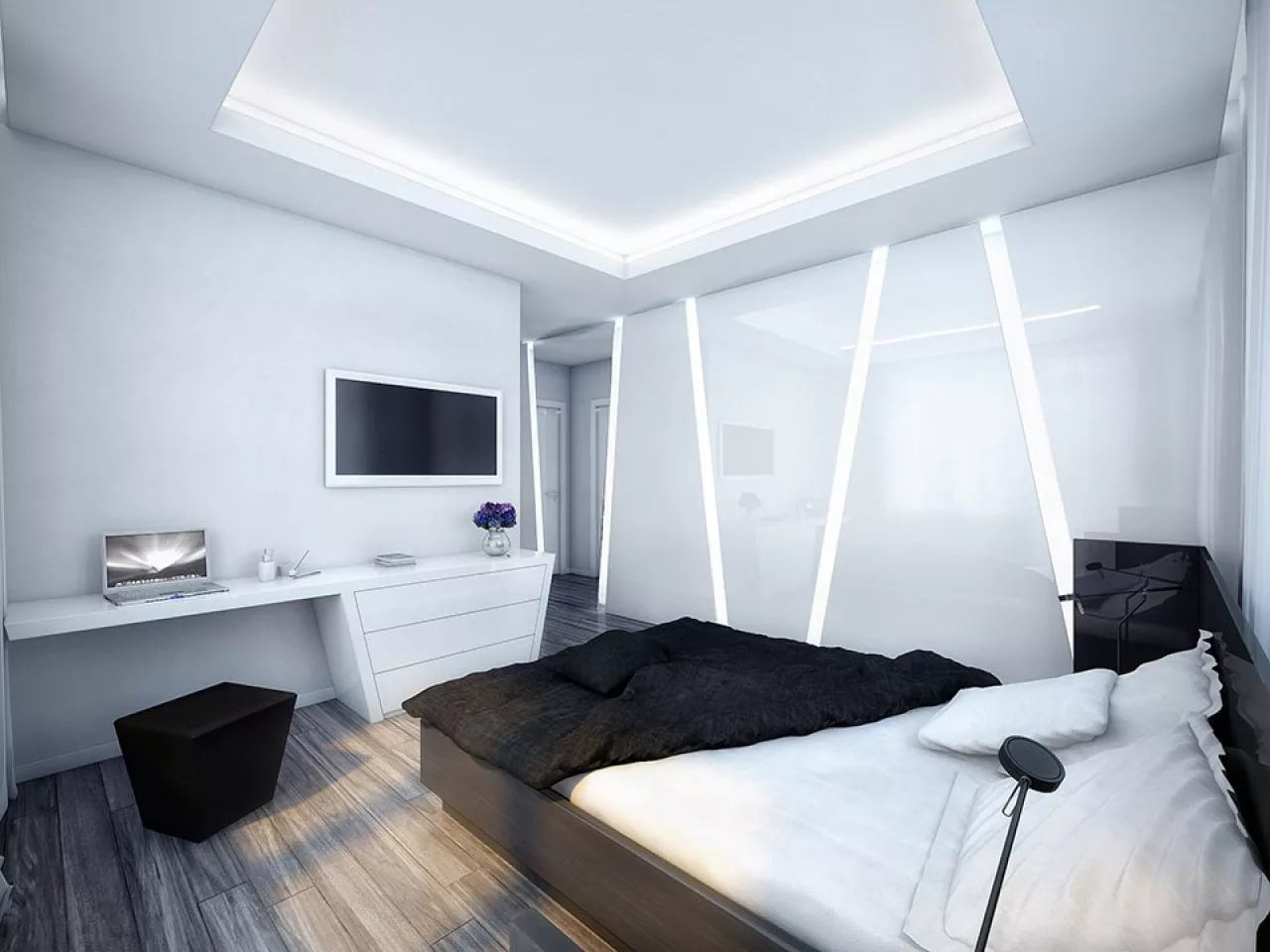 дизайн спальни хай тек