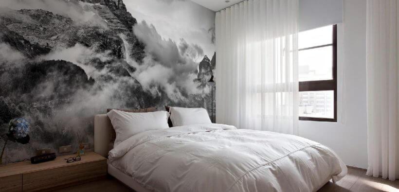 Красивый интерьер спальни с фотообоями
