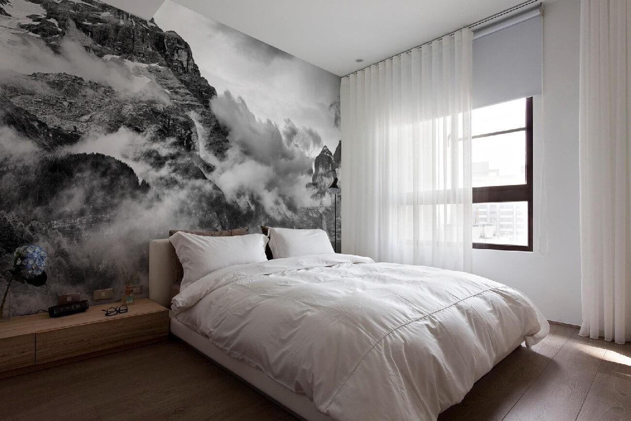 Картинки интерьер спальни с фотообоями