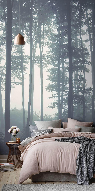 дизайн спальни фотообои