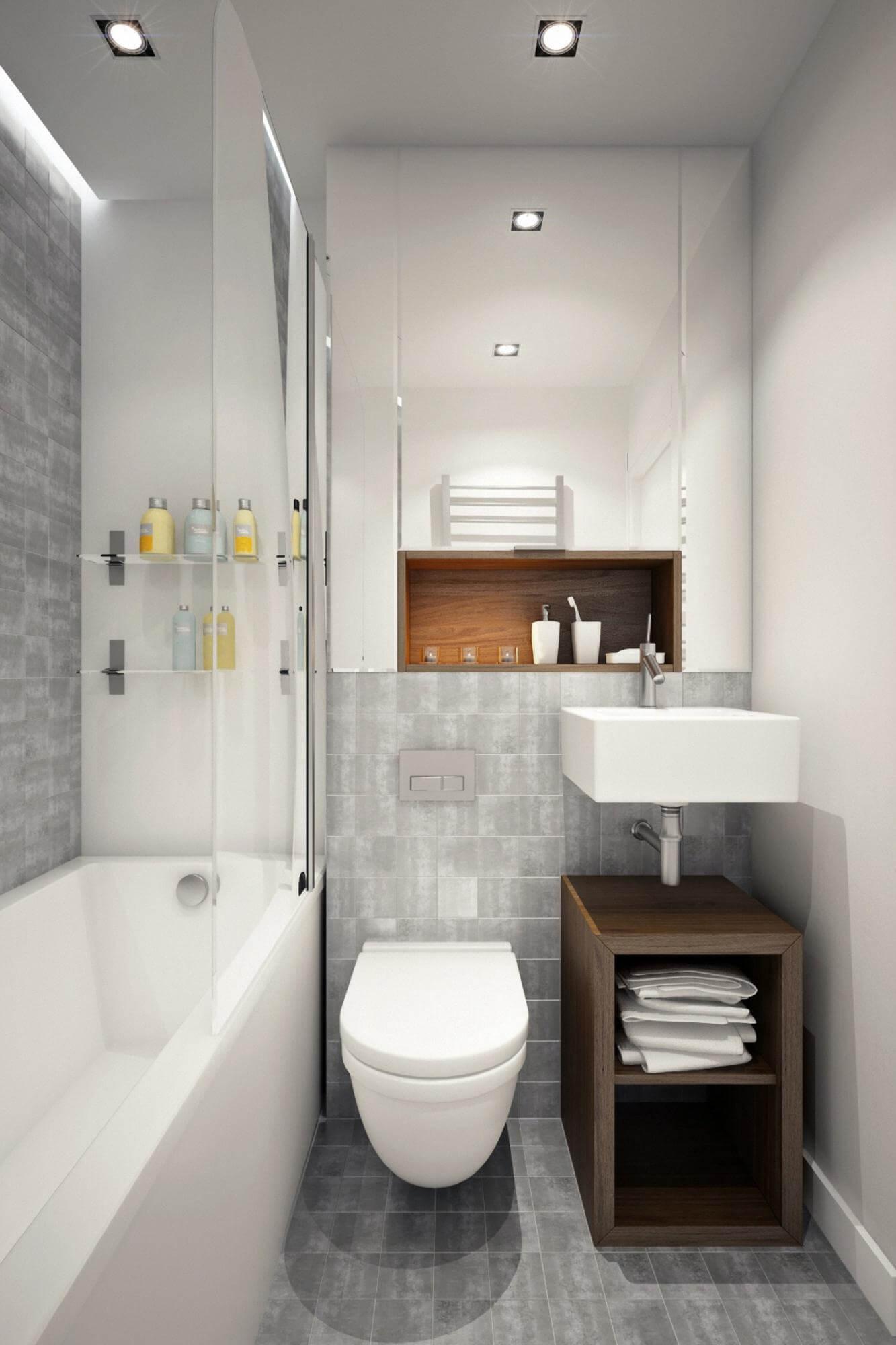 дизайн плитки в маленькой ванной