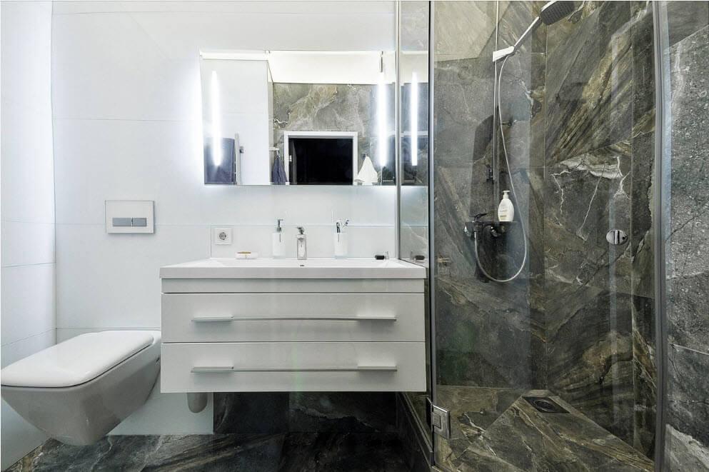 дизайн маленькой совмещенной ванной комнаты
