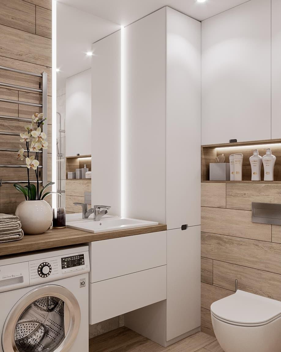 интерьер маленькой ванной комнаты со стиральной машинойм